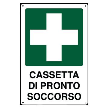 Cartello Emergenza In Alluminio Scritta E Simbolo Cassetta Di Pronto
