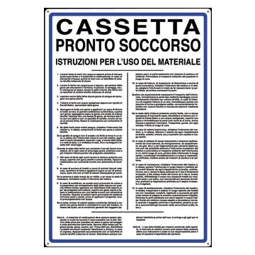 Cartello In Alluminio Scritta E Simbolo Cassetta Pronto Soccorso 50